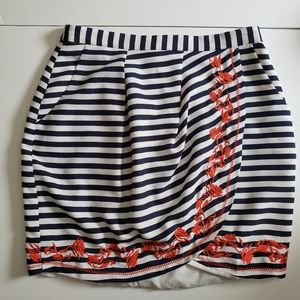 Gianni Bini Navy Striped Embroidered Skirt